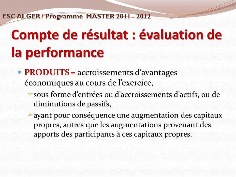 Compte de résultat : évaluation de la performance