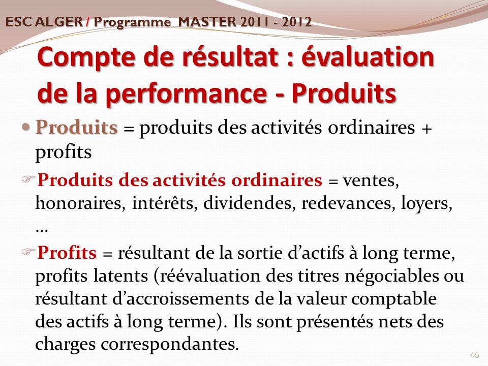 Compte de résultat : évaluation de la performance - Produits