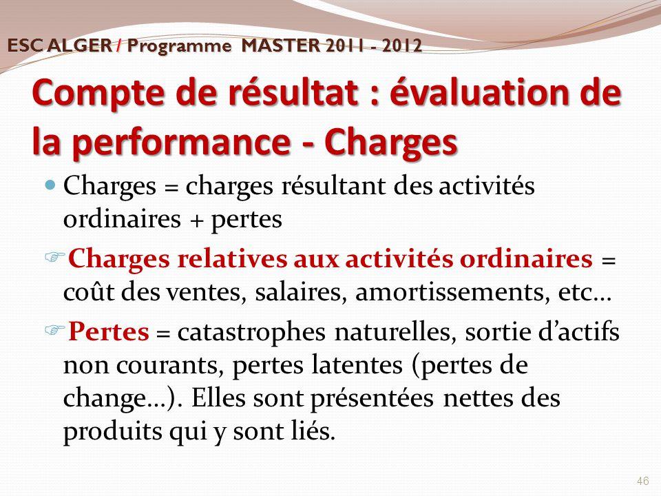 Compte de résultat : évaluation de la performance - Charges