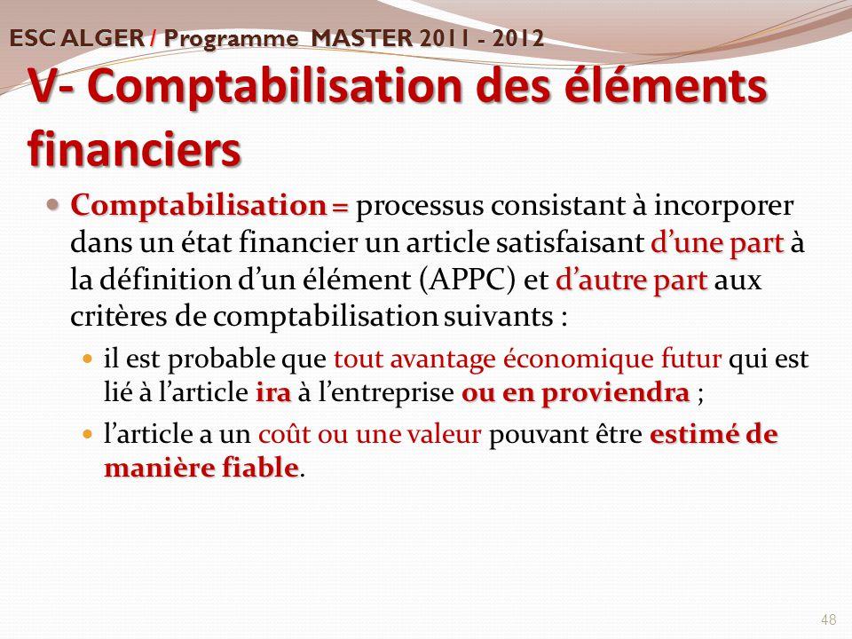 V- Comptabilisation des éléments financiers