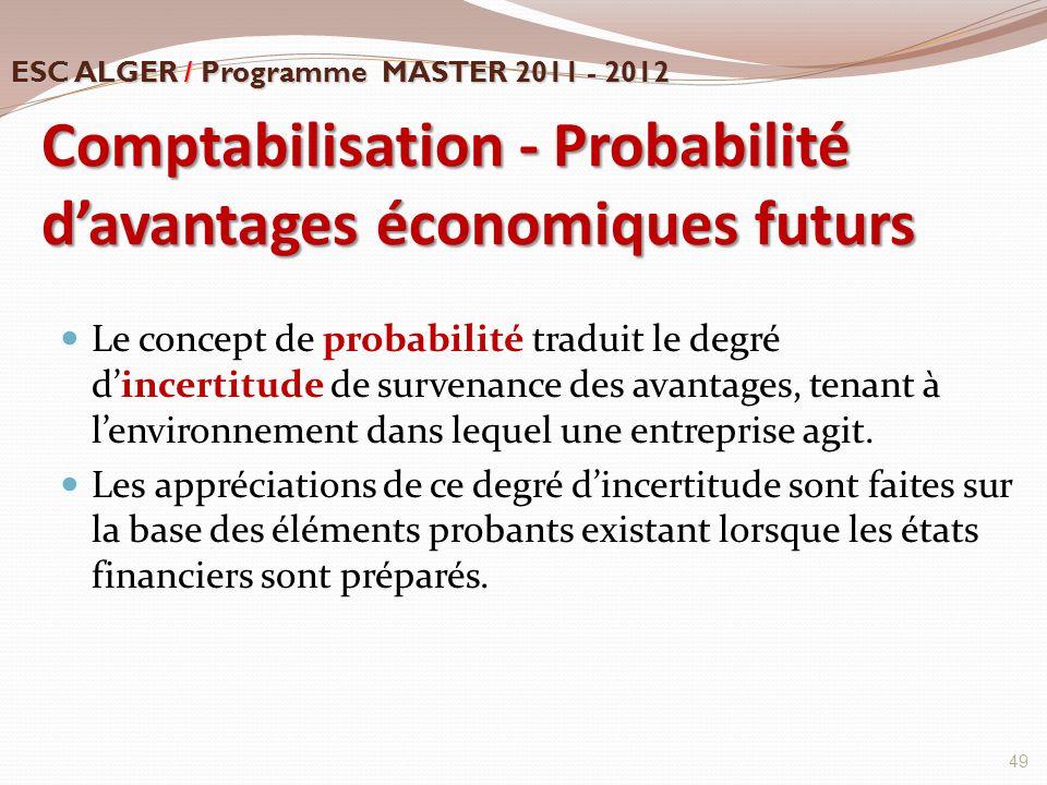 Comptabilisation - Probabilité d'avantages économiques futurs