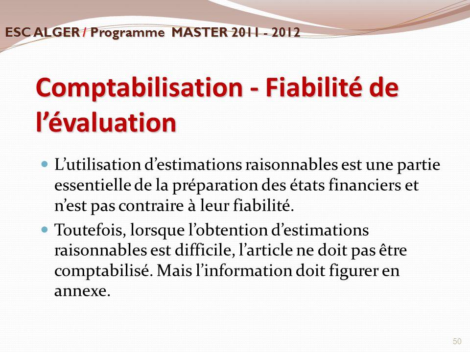 Comptabilisation - Fiabilité de l'évaluation