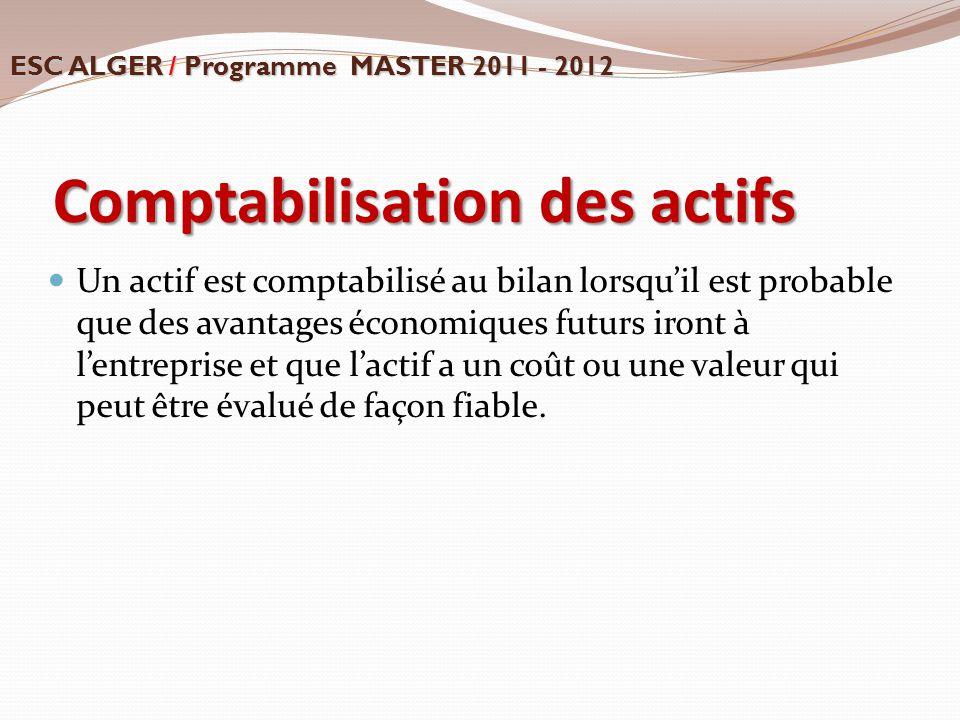 Comptabilisation des actifs