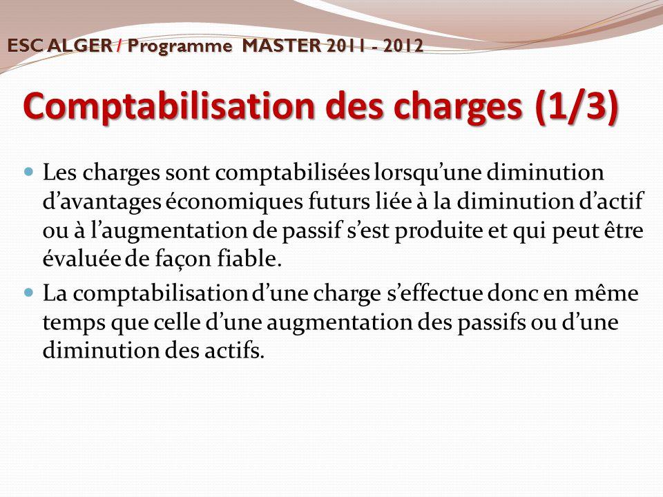 Comptabilisation des charges (1/3)