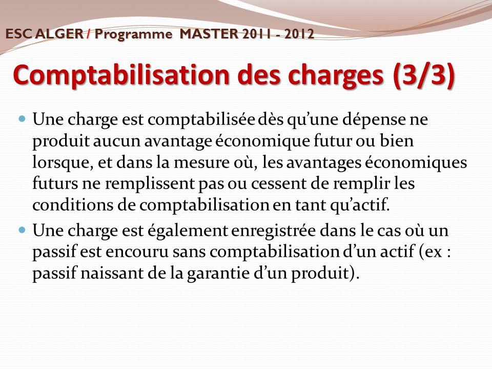 Comptabilisation des charges (3/3)