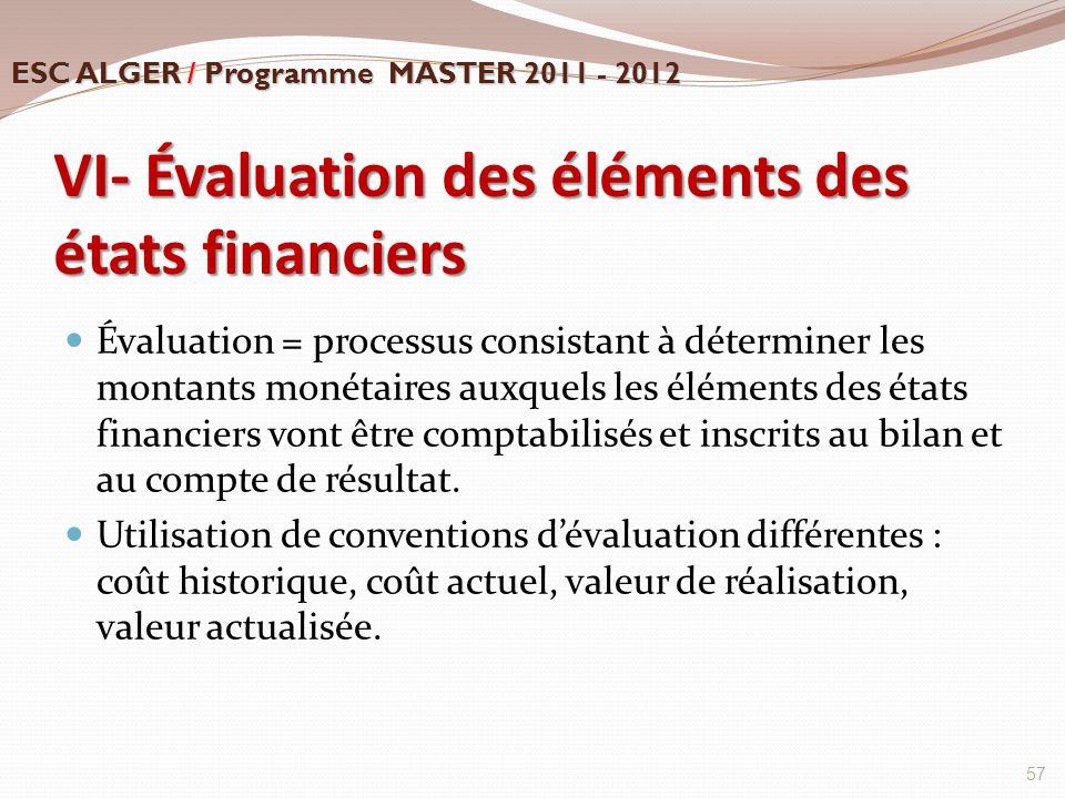 VI- Évaluation des éléments des états financiers