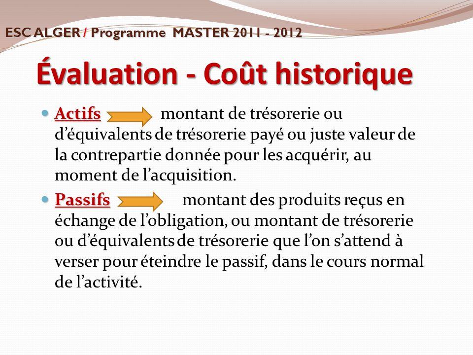 Évaluation - Coût historique