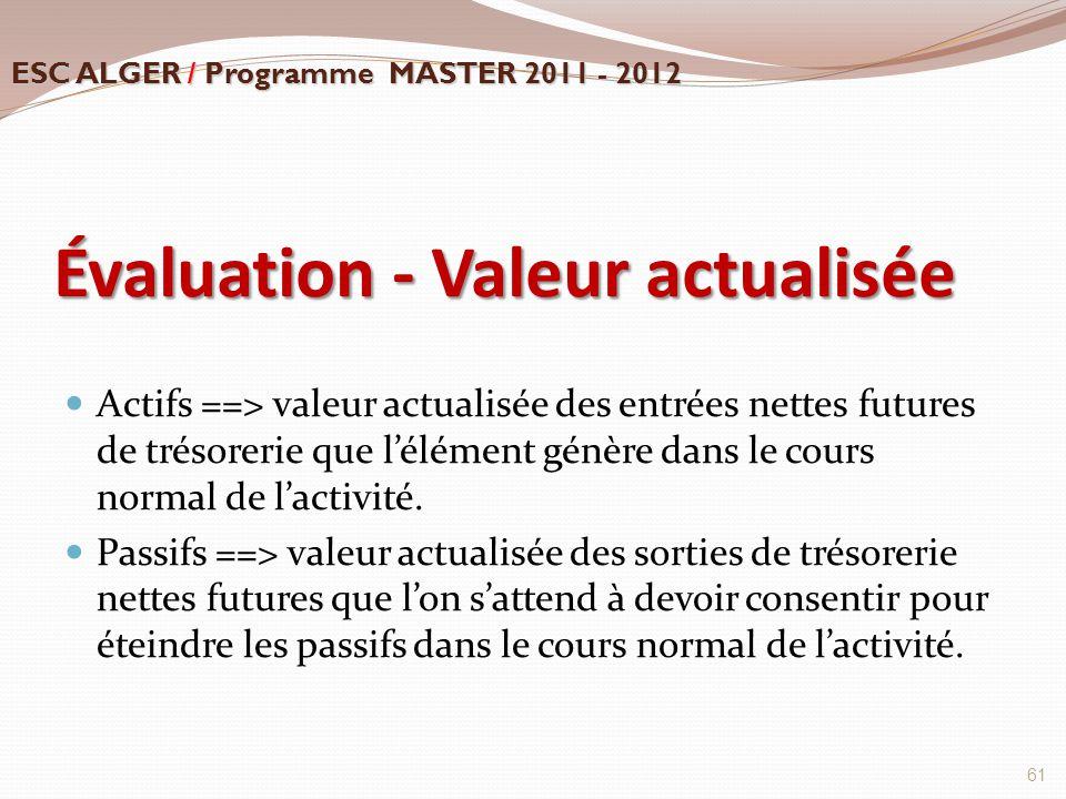 Évaluation - Valeur actualisée