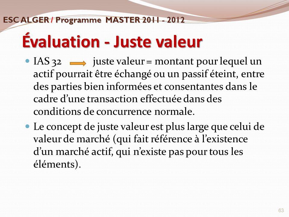 Évaluation - Juste valeur