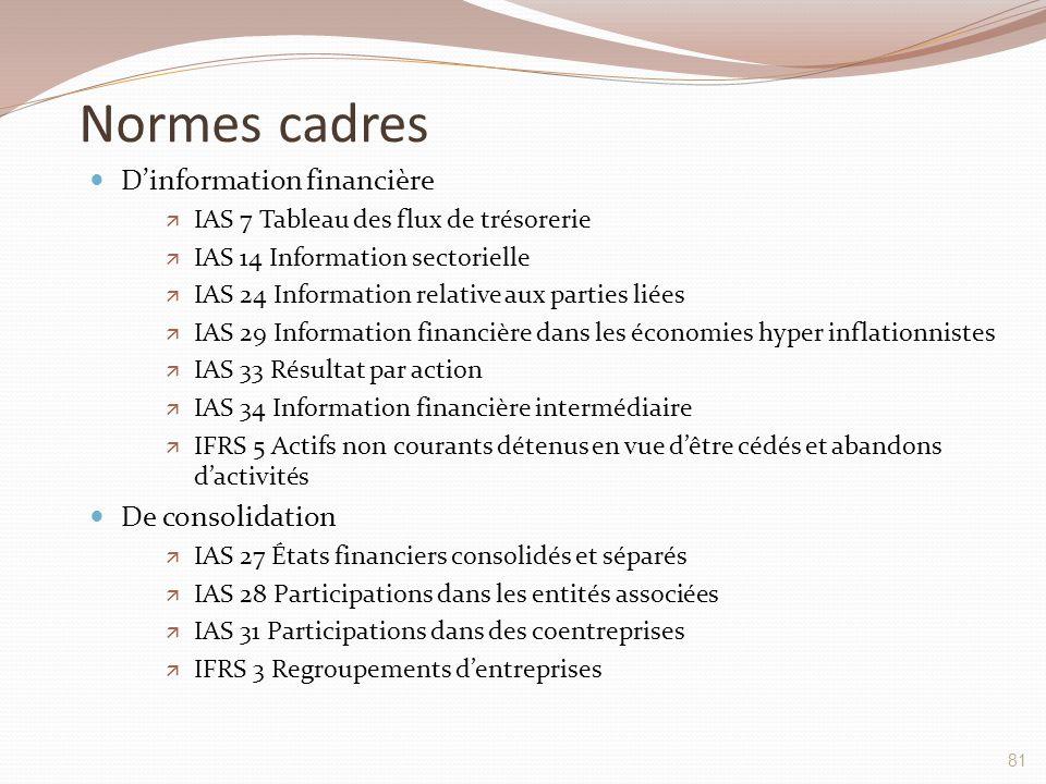 Normes cadres D'information financière De consolidation