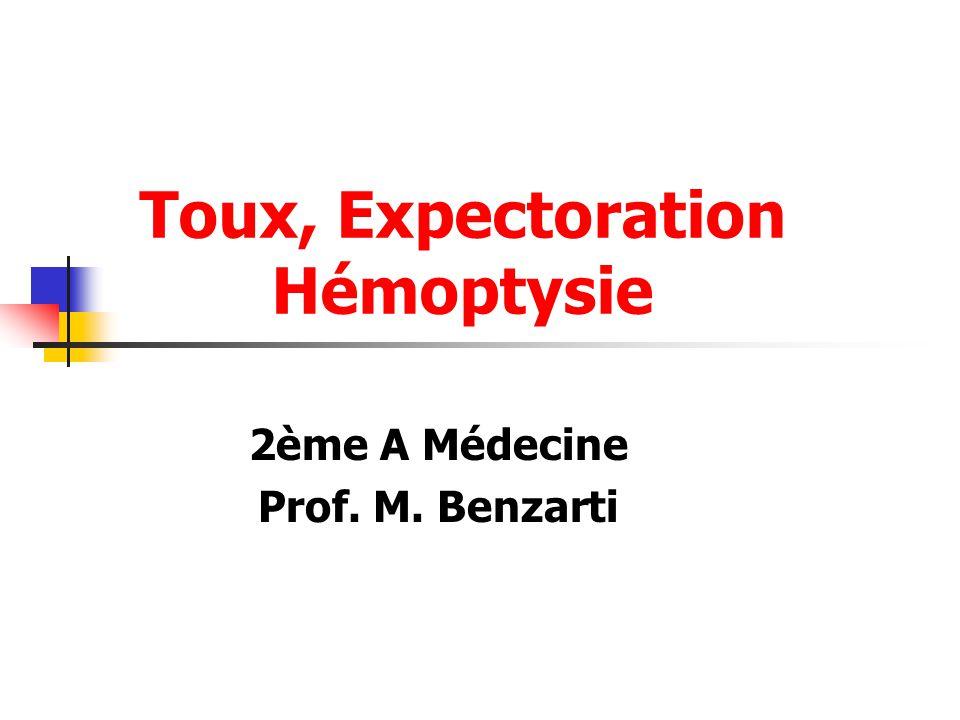 Toux, Expectoration Hémoptysie