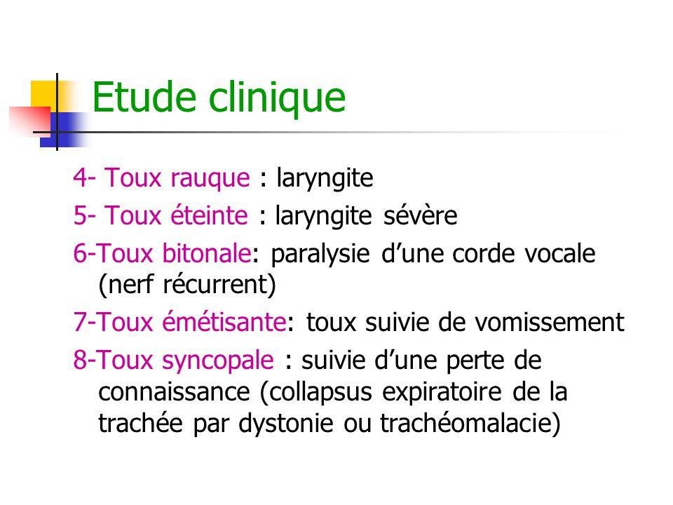 Etude clinique 4- Toux rauque : laryngite