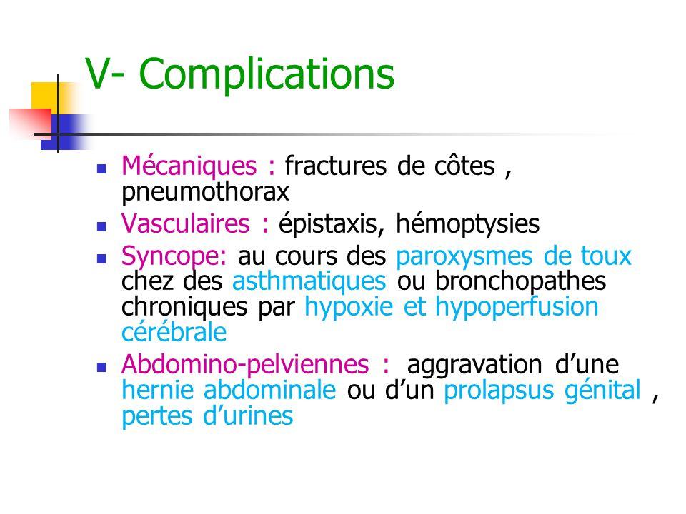 V- Complications Mécaniques : fractures de côtes , pneumothorax