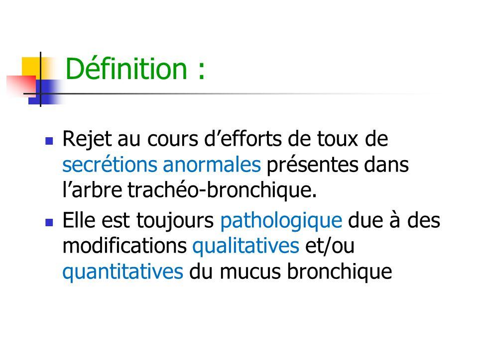 Définition : Rejet au cours d'efforts de toux de secrétions anormales présentes dans l'arbre trachéo-bronchique.