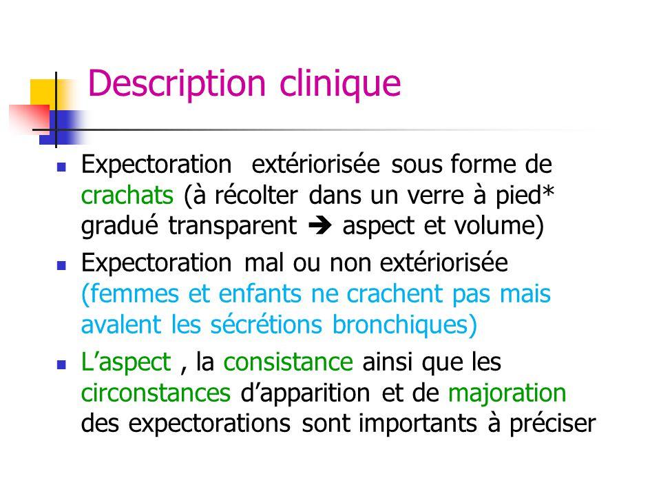 Description clinique Expectoration extériorisée sous forme de crachats (à récolter dans un verre à pied* gradué transparent  aspect et volume)