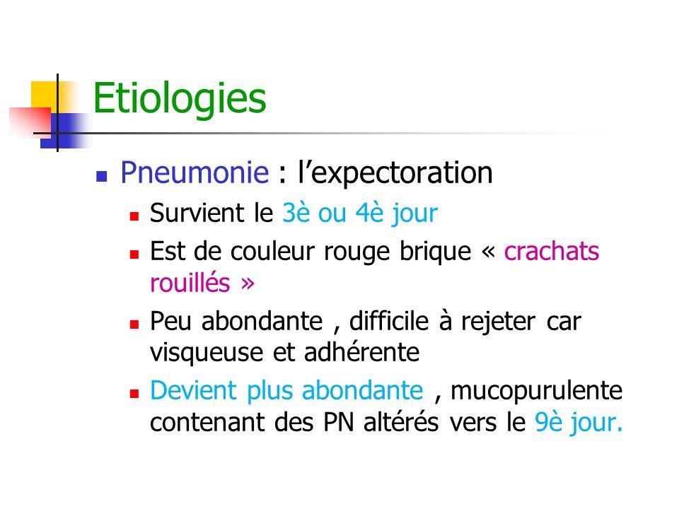 Etiologies Pneumonie : l'expectoration Survient le 3è ou 4è jour