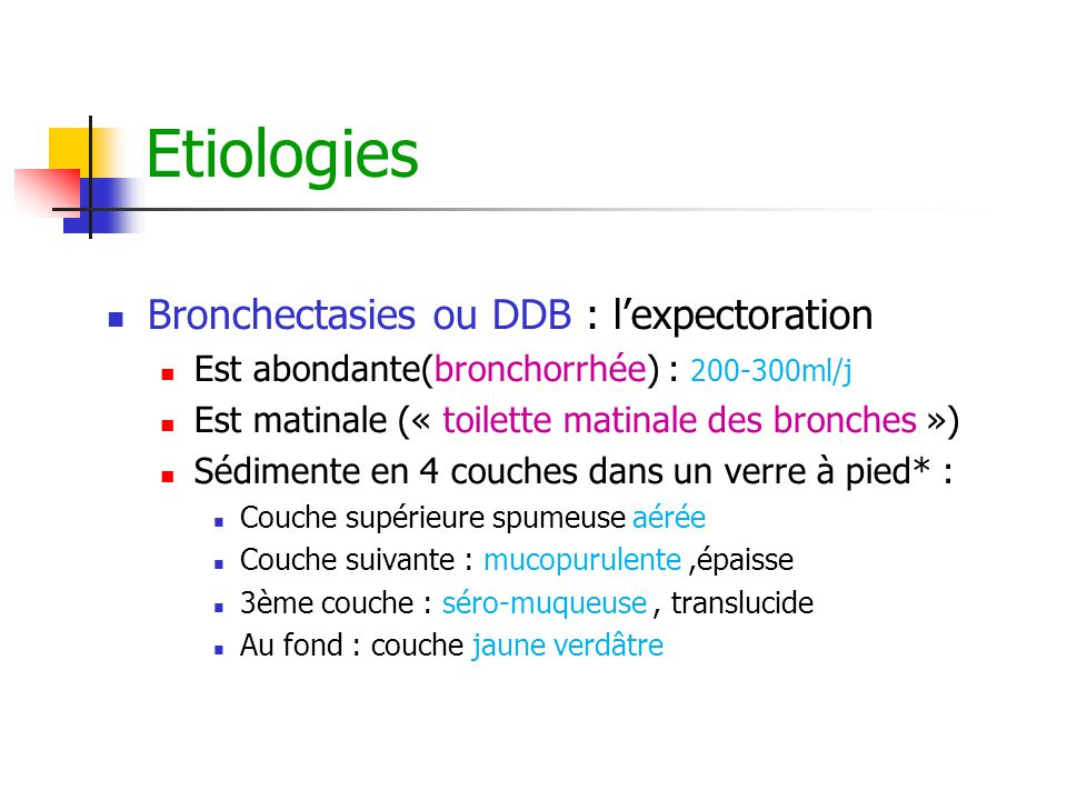 Etiologies Bronchectasies ou DDB : l'expectoration