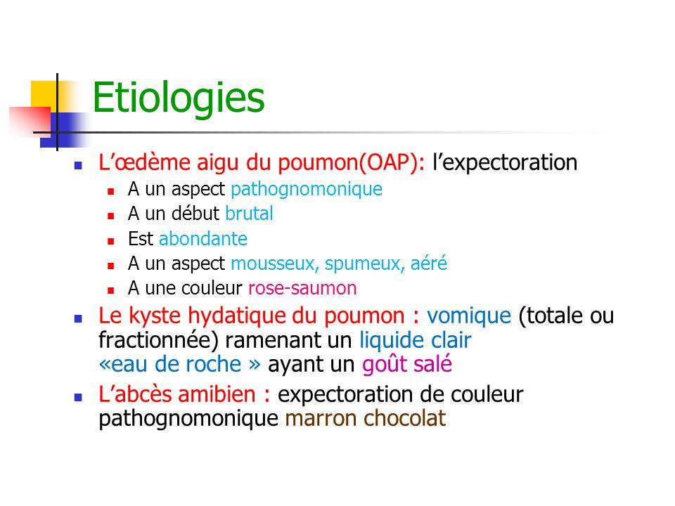 Etiologies L'œdème aigu du poumon(OAP): l'expectoration