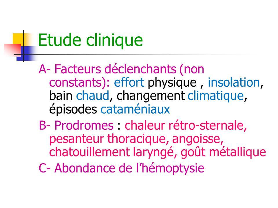 Etude clinique A- Facteurs déclenchants (non constants): effort physique , insolation, bain chaud, changement climatique, épisodes cataméniaux.