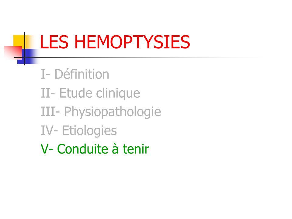 LES HEMOPTYSIES I- Définition II- Etude clinique III- Physiopathologie