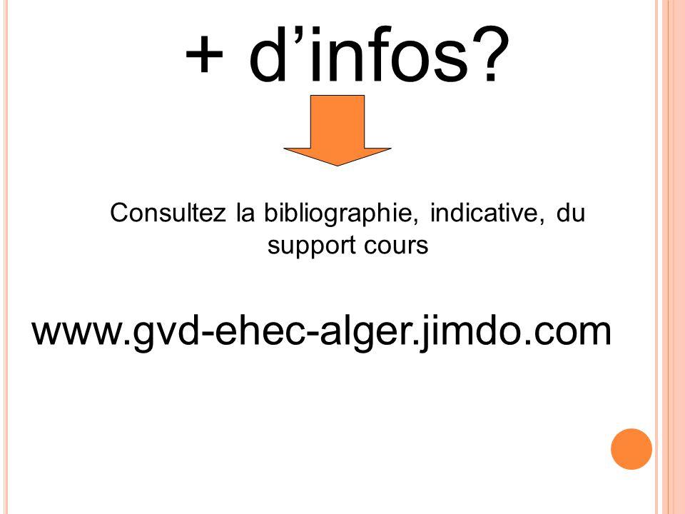 Consultez la bibliographie, indicative, du support cours
