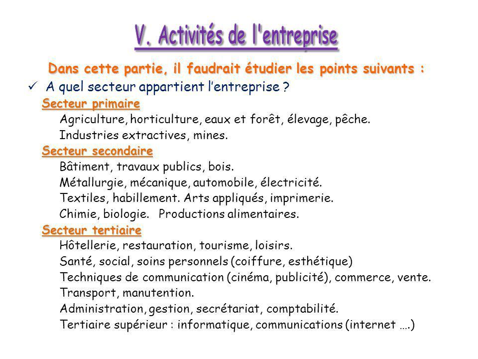 V. Activités de l entreprise