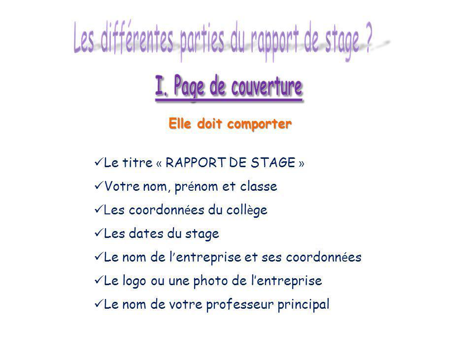Les différentes parties du rapport de stage
