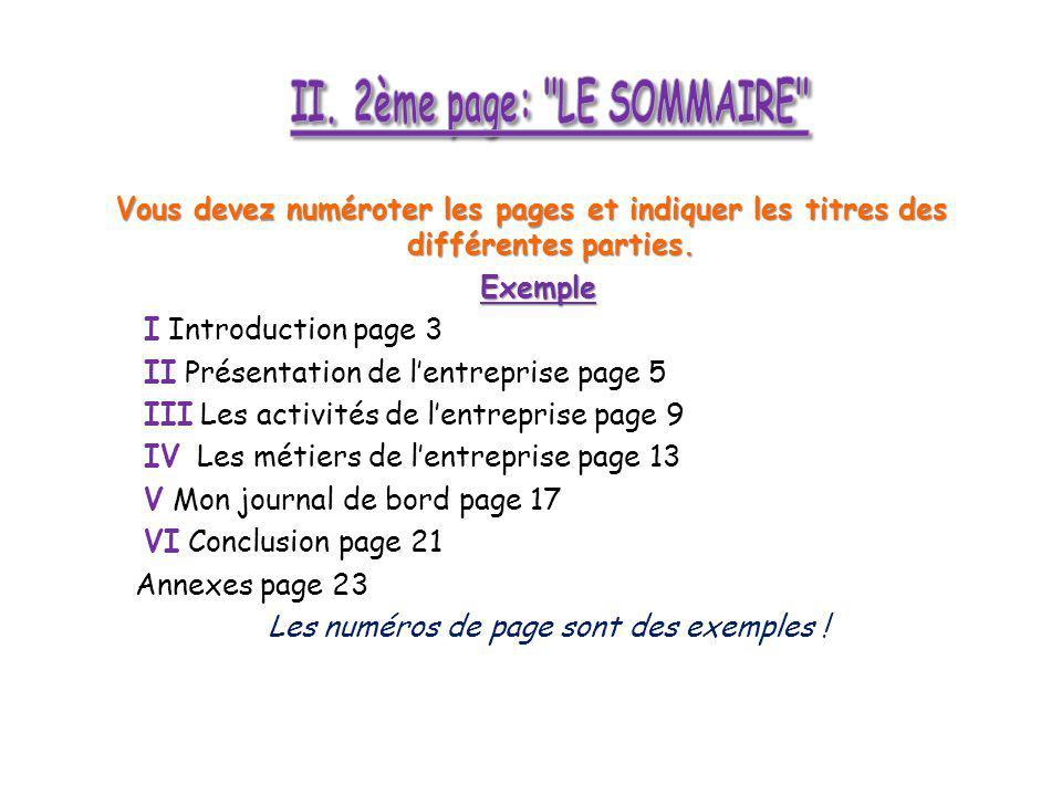 II. 2ème page: LE SOMMAIRE