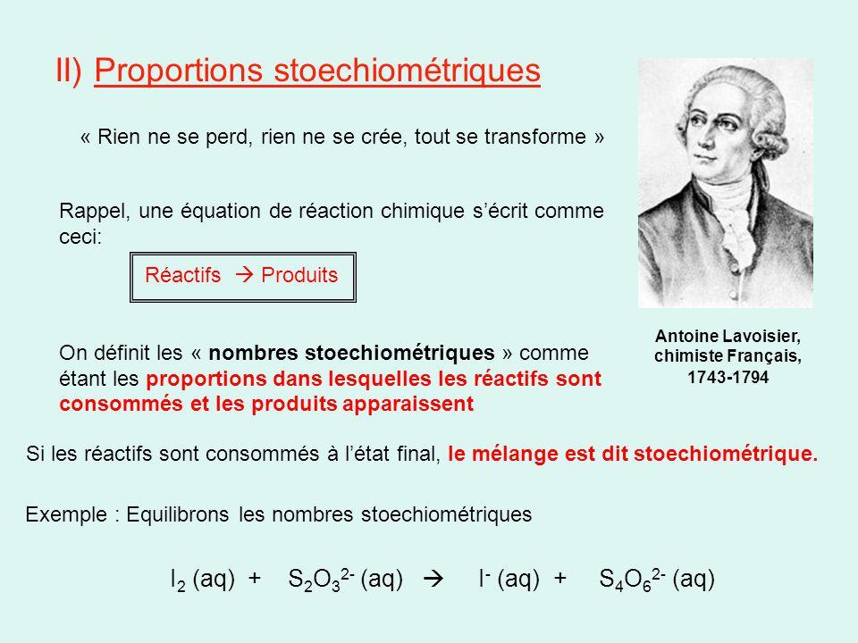 II) Proportions stoechiométriques