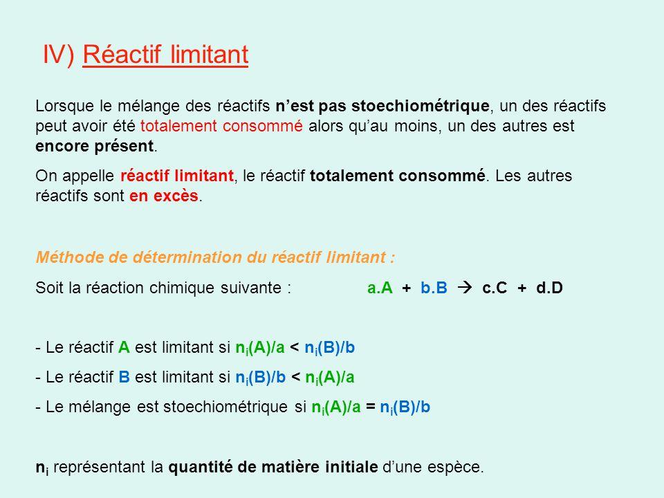 IV) Réactif limitant