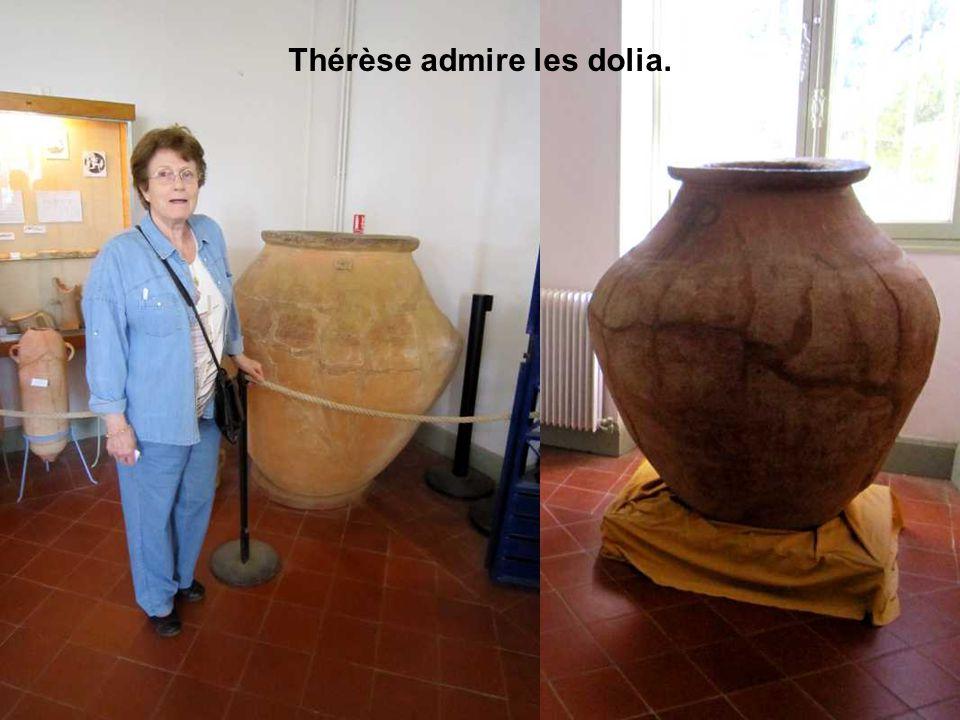 Thérèse admire les dolia.