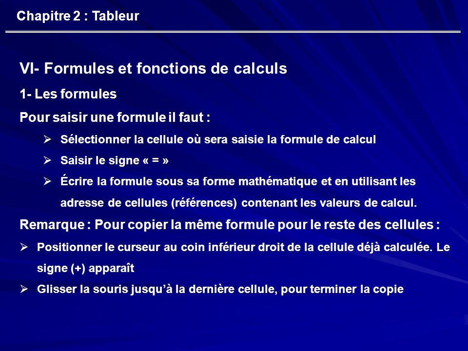 VI- Formules et fonctions de calculs