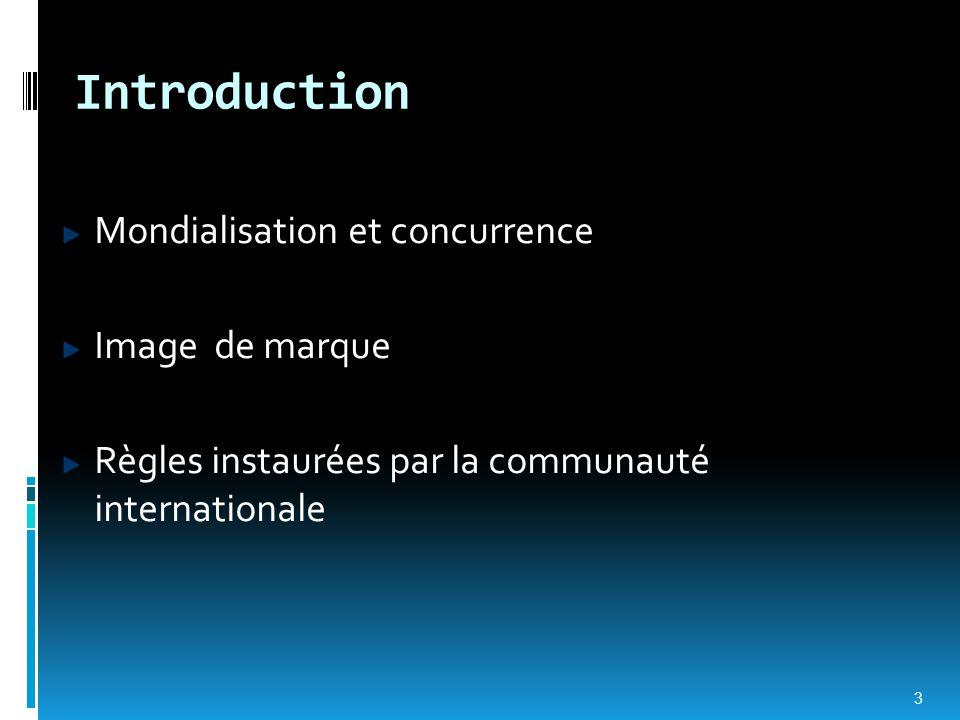 Introduction Mondialisation et concurrence Image de marque