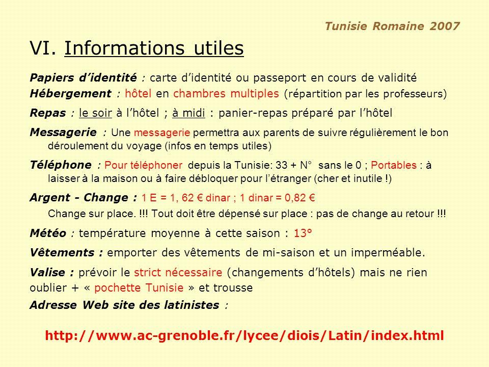 VI. Informations utiles