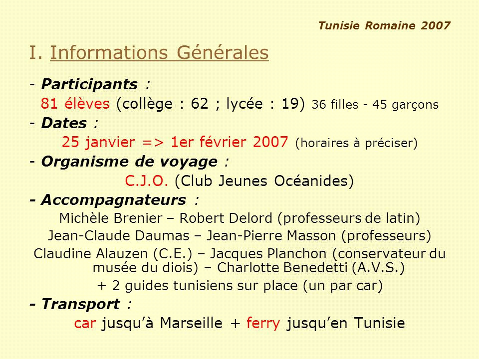 I. Informations Générales