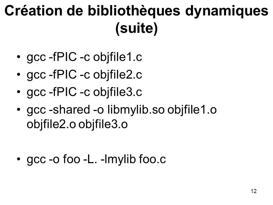 Création de bibliothèques dynamiques (suite)