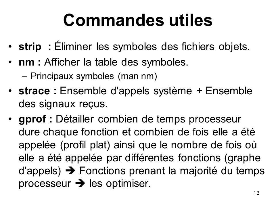 Commandes utiles strip : Éliminer les symboles des fichiers objets.