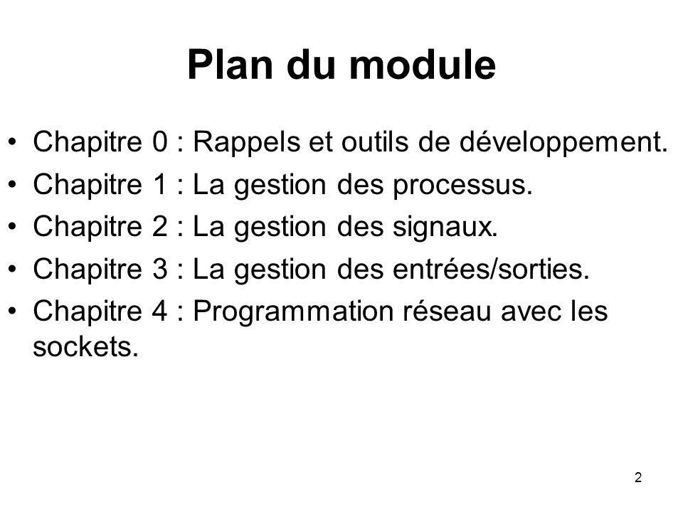 Plan du module Chapitre 0 : Rappels et outils de développement.