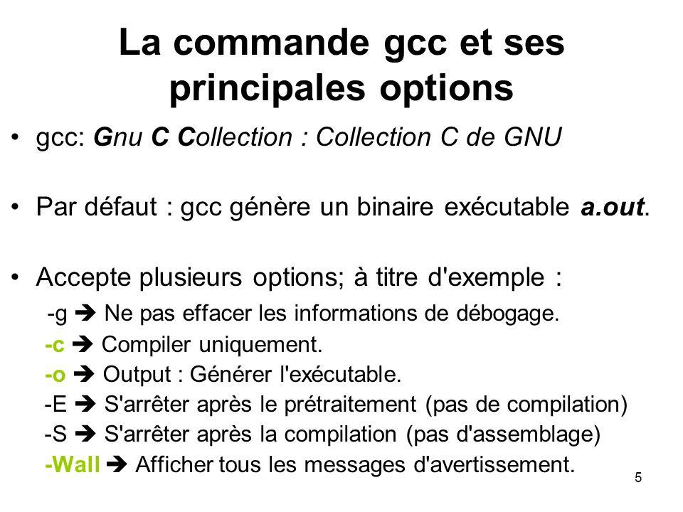 La commande gcc et ses principales options