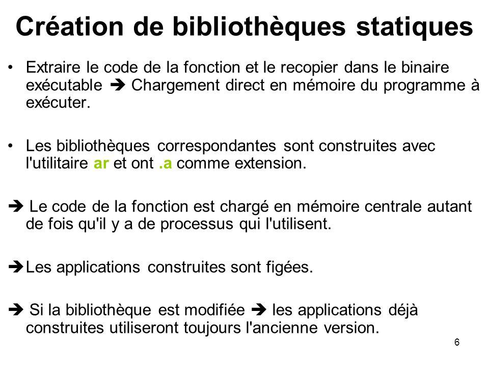 Création de bibliothèques statiques