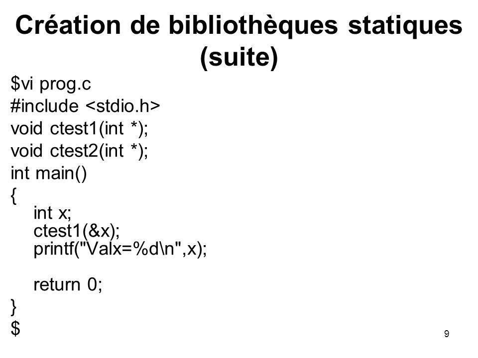 Création de bibliothèques statiques (suite)