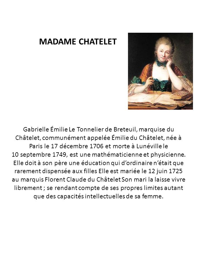 MADAME CHATELET