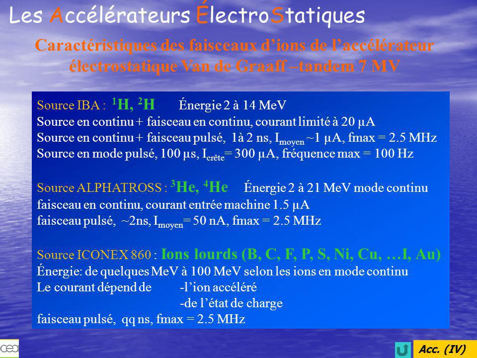 Les Accélérateurs ÉlectroStatiques