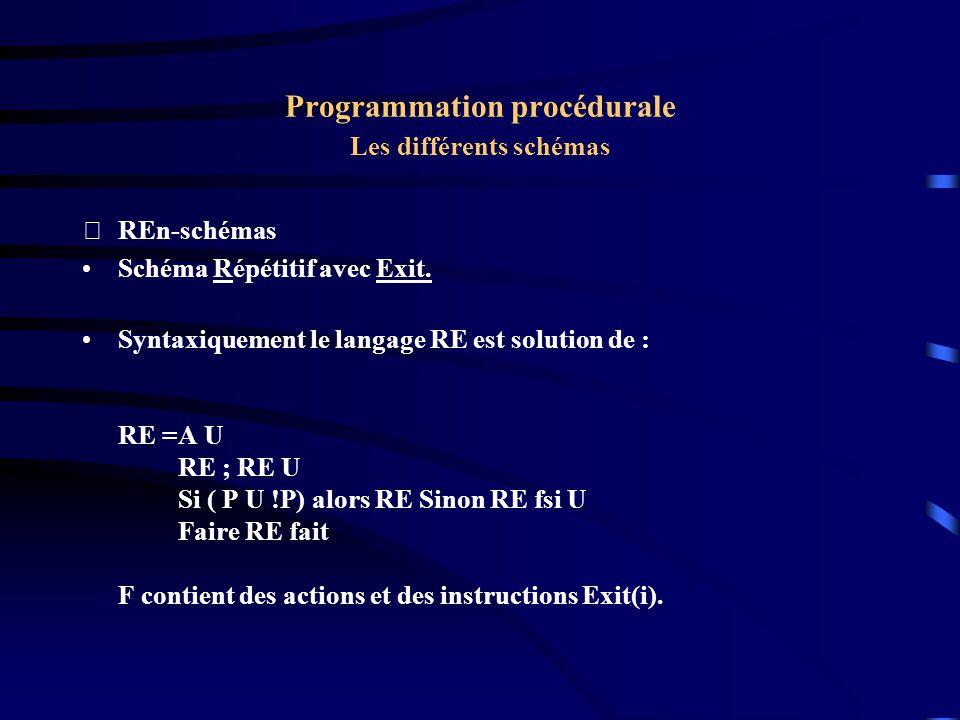 Programmation procédurale Les différents schémas