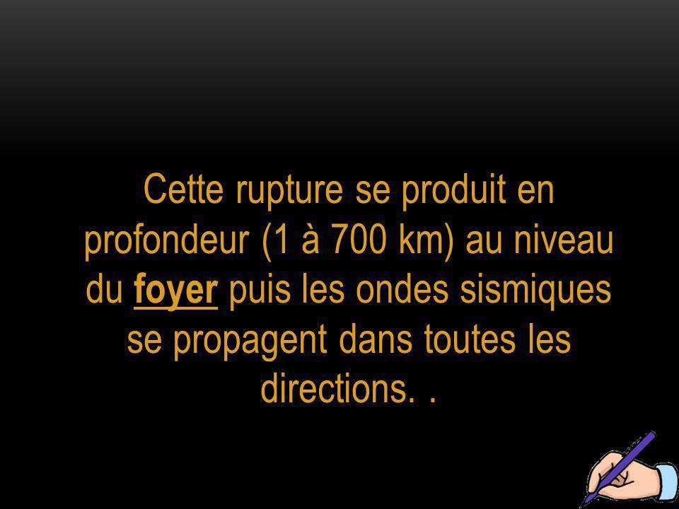 Cette rupture se produit en profondeur (1 à 700 km) au niveau du foyer puis les ondes sismiques se propagent dans toutes les directions. .