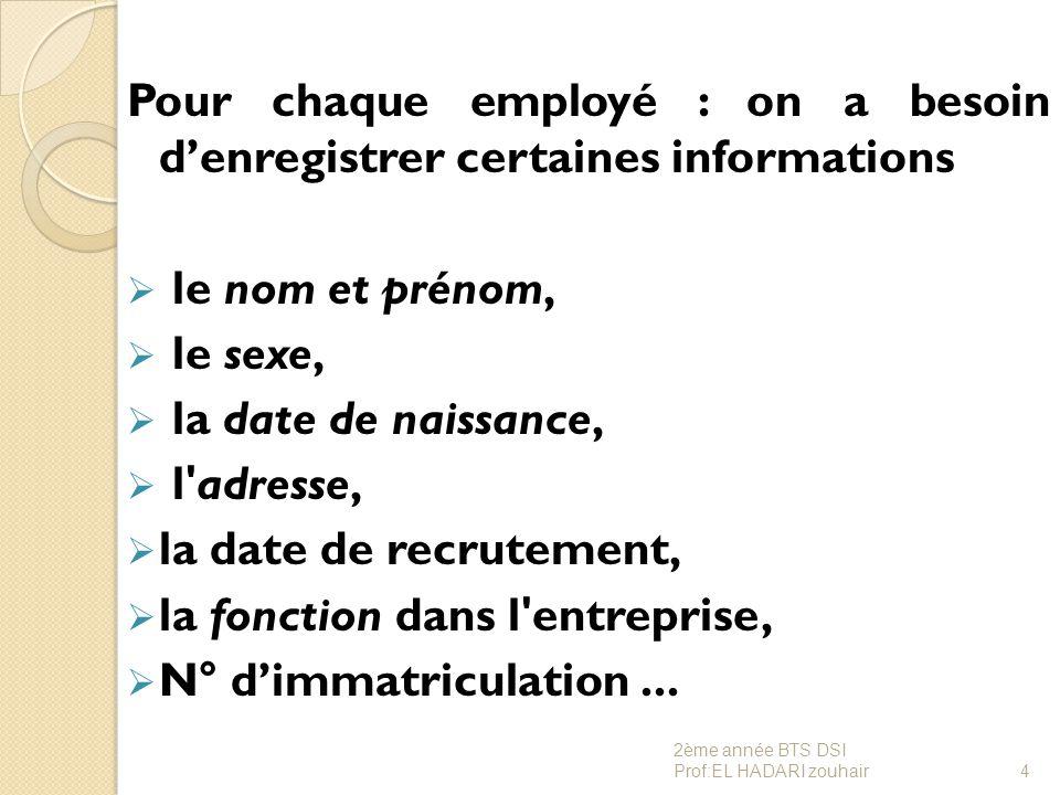 Pour chaque employé : on a besoin d'enregistrer certaines informations