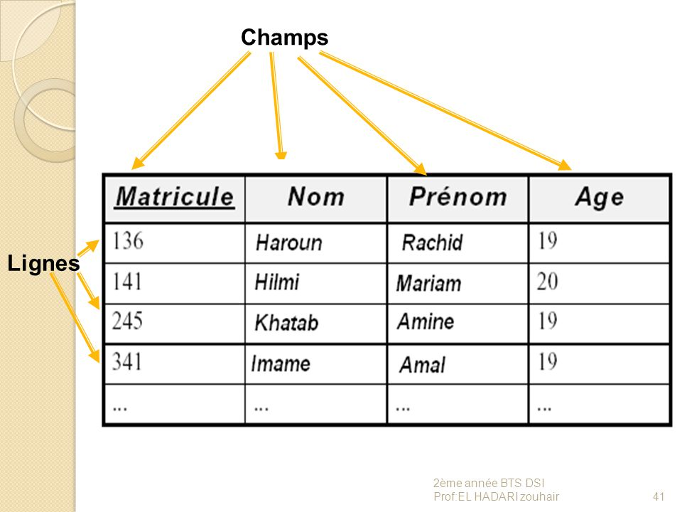 Champs Lignes 2ème année BTS DSI Prof:EL HADARI zouhair