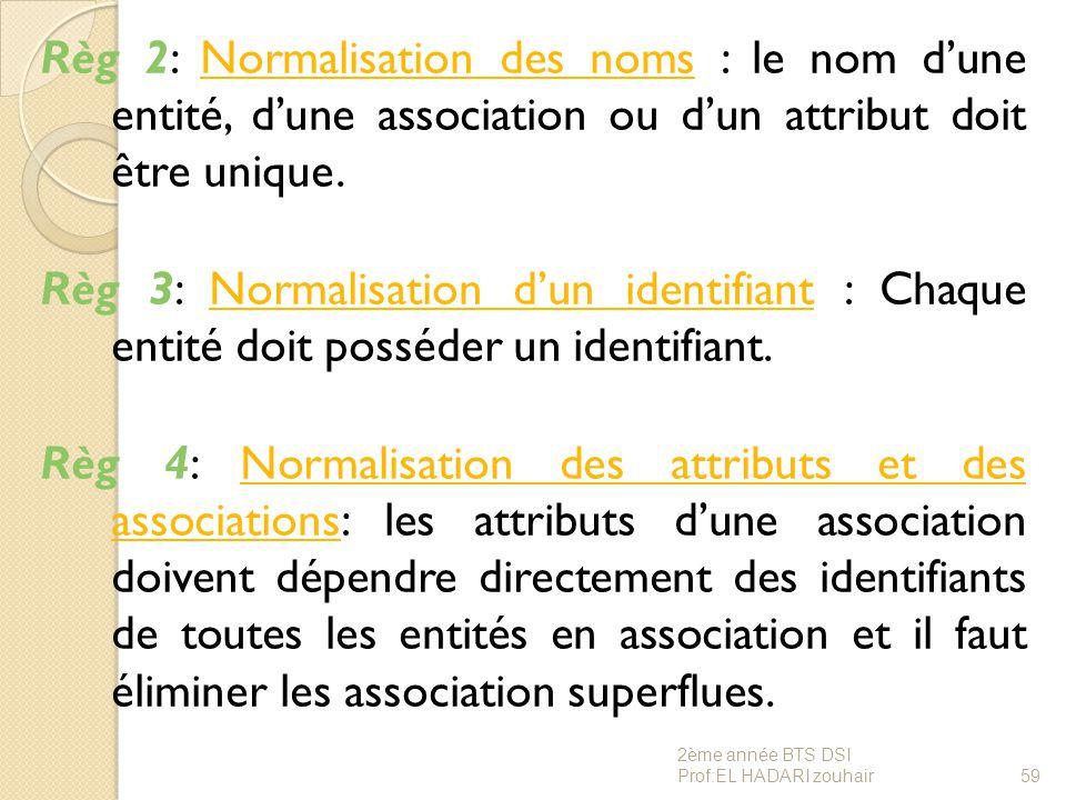 Règ 2: Normalisation des noms : le nom d'une entité, d'une association ou d'un attribut doit être unique. Règ 3: Normalisation d'un identifiant : Chaque entité doit posséder un identifiant. Règ 4: Normalisation des attributs et des associations: les attributs d'une association doivent dépendre directement des identifiants de toutes les entités en association et il faut éliminer les association superflues.