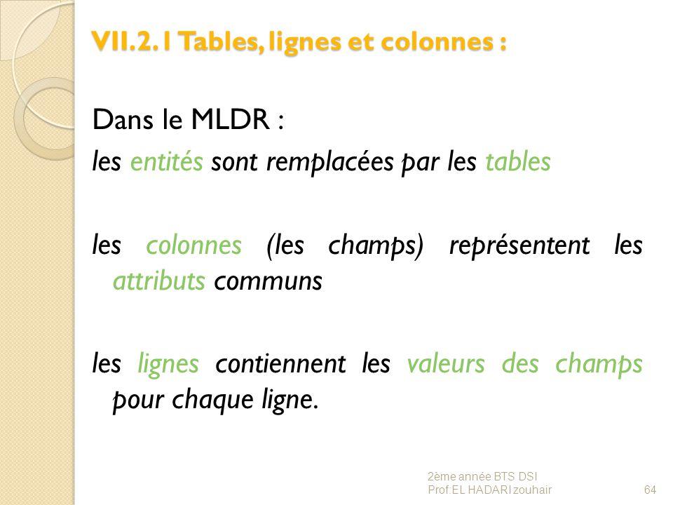 VII.2.1 Tables, lignes et colonnes :