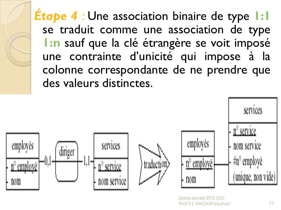 Étape 4 : Une association binaire de type 1:1 se traduit comme une association de type 1:n sauf que la clé étrangère se voit imposé une contrainte d'unicité qui impose à la colonne correspondante de ne prendre que des valeurs distinctes.
